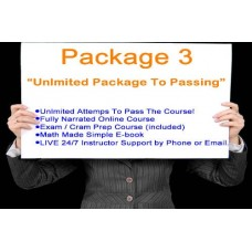 """Sales Associate Pre-license Package 3- """"Unlimited Package To Passing""""  V30- 12 month enrollment"""